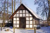 Gellenbecker mill in winter, Osnabruecker land, Lower Saxony, Germany — Stock Photo