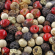 Red, black and white Pepper corns (Piper nigrum) — Stock Photo