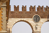 The Entrance and wall of the Piazza Bra in Verona — Stock Photo