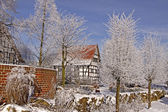 Timbered house in winter, Lower Saxony, Germany — Stock Photo