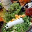 Variety of fruits cheese and salad vegatables — Stock Photo