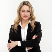 Portrait of business woman in black suit — Стоковое фото