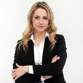 Portret kobiety biznesu w czarnym garniturze — Zdjęcie stockowe
