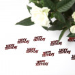 White roses and lettering happy birthday — Stock Photo #8881993