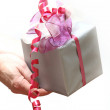 A gift will be presented with ribbo — Stock Photo