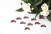 White roses and lettering happy birthday — Stock Photo