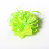 Green gift bow — Stock Photo