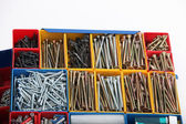 Toolbox with Long Screws — Stock Photo