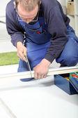 Man Using Hacksaw — Stock Photo