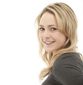 Profile shot of a smiling blonde woman — Stock Photo