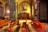 Catholic church interior. Serralunga D'Alba, Italy. — Zdjęcie stockowe
