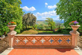 View from castle terrace. Novello, Northern Italy. — Stock Photo