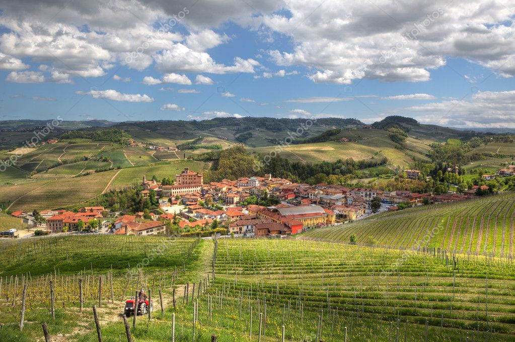 Aerial view on town of Barolo among hills and vineyards of Piedmont, Northern Italy. — Stock Photo #10352953