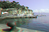 Town of Portofino. Liguria, Italy (anaglyph image). — Stock Photo