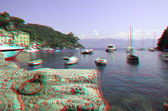 Bay and port of Portofino, Italy (anaglyph image). — Stock Photo