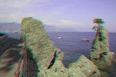 Rocks and bay of Portofino. Liguria, Italy (anaglyph image). — Stock Photo