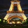 Fragment of Eiffel Tower at evening. — Stock Photo