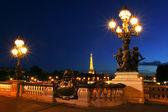Paris cityscape at night. — Stock Photo