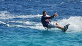 Kitesurfer on the Red Sea (panoramic). — Stock Photo