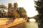 Seine river and famous Notre Dame de Paris. — Stock Photo