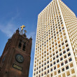 Church and office building. San Francisco, USA. - Stock Photo
