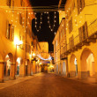 Town center at evening. Alba, Italy. - Stock Photo