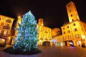 Christmas tree on central plaza. Alba, Italy. — Stock Photo