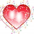 Red and pink hearts on white background. — 图库矢量图片
