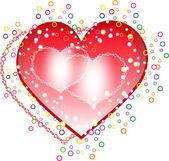 Rött och rosa hjärtan på vit bakgrund. — Stockvektor
