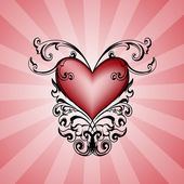 Decorative heart on pink background. — Stock Vector