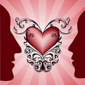 Mężczyzna i kobieta profile z czerwonym sercem na tle. — Wektor stockowy