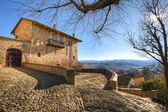 Old house over the village. Serralunga D'Alba, Italy. — Stock Photo