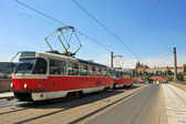 Tram on the bridge. Prague, Czech Republic. — Stock Photo