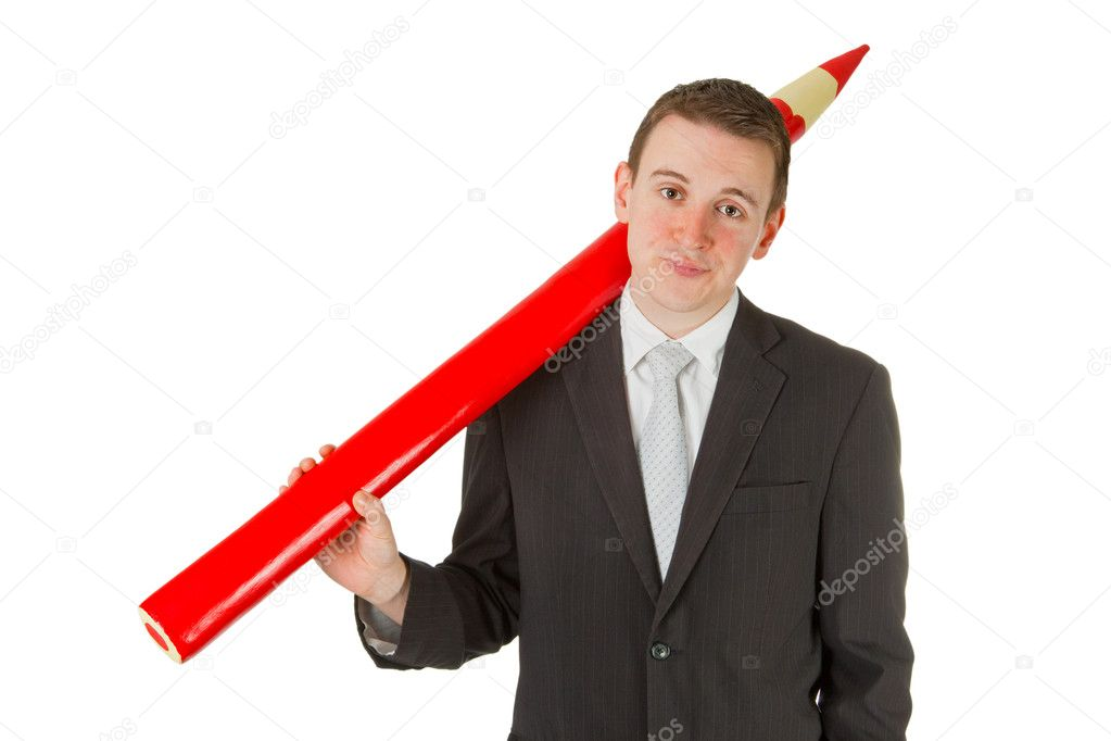 Freindly businessman with red pencil isolated on white background — Stock Photo #8295383