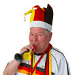 Senior soccer fan — Stock Photo