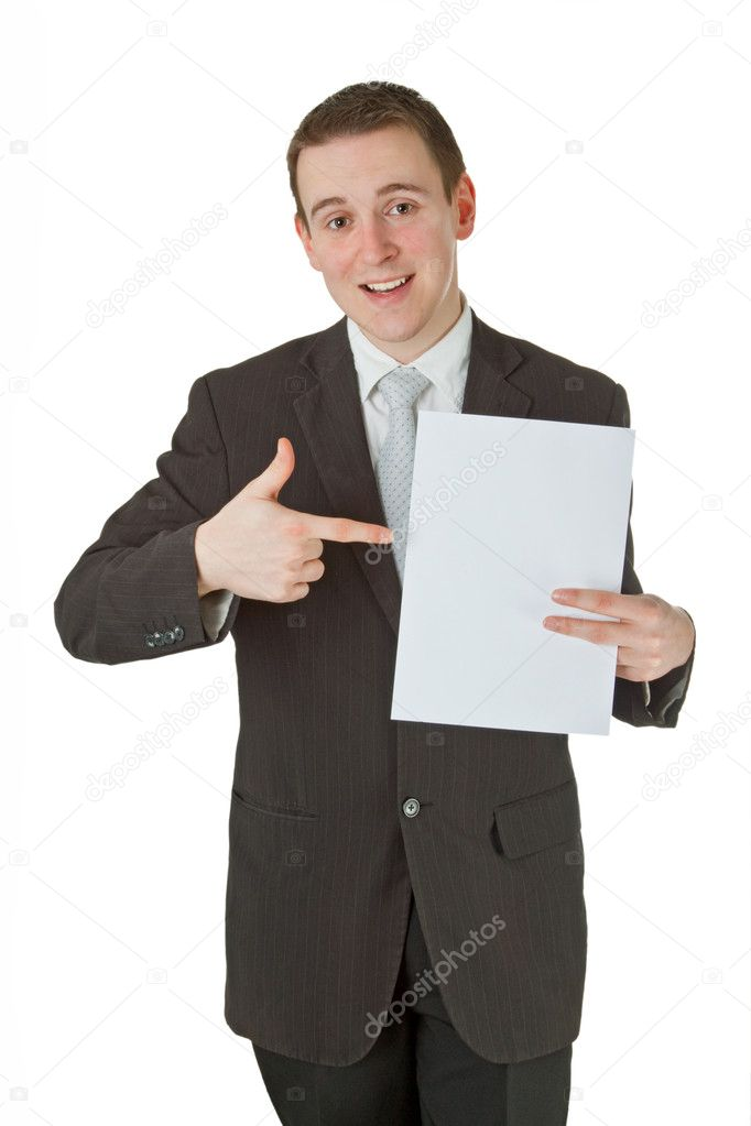 Young businessman with white paper on white background  Stock Photo #9129089