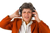 Female senior with headphone — Stock Photo