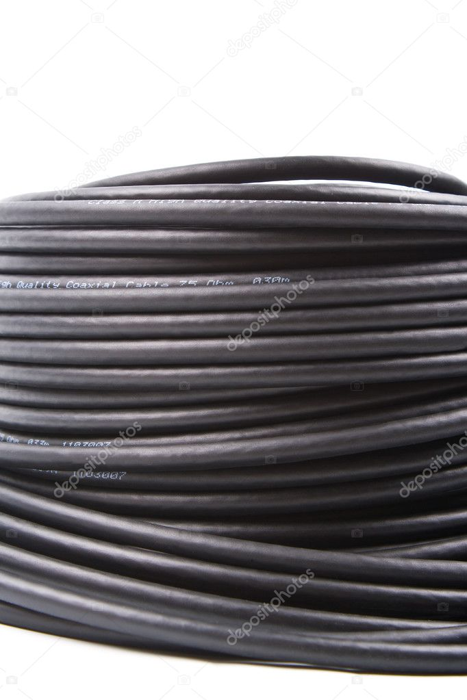 The curtailed hank of a black coaxial cable on a white background — Stock Photo #9166798