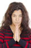 Young woman with freckles in devout prayer — Stock Photo