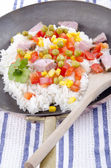 Rice pan with organic vegetables — Stock Photo
