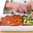 Chef prepared lasagna with sliced ​​leek — Stock Photo