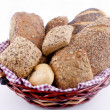 Stock Photo: Basked with fresh rolls and freshley baked bread