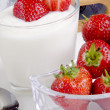 Stock Photo: Fresh yogurt with organic strawberries