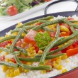 Stock Photo: Spanish paellwith organic vegetables