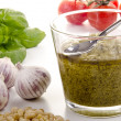 Homemade pesto with basil and garlic - Stock Photo