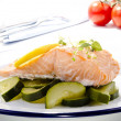 Steamed wild salmon with zucchini - Stock Photo