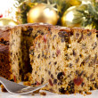 Freshly baked Christmas fruit cake - Stock Photo
