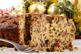 Freshly baked Christmas fruit cake — Stock Photo