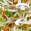 Stir fry with sliced mushrooms - Stock Photo