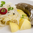 Steamed sauerkraut with home made sausage and potatoes — Stock Photo #8588811